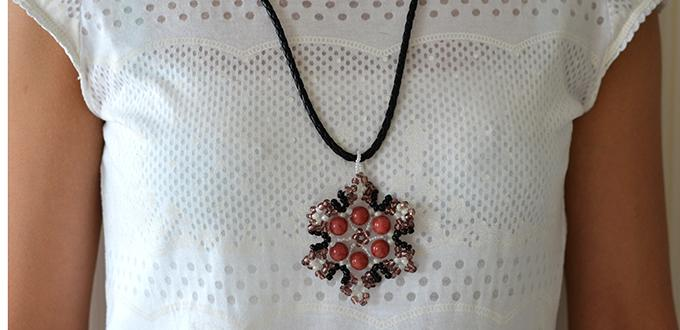How to Make a Brown Pendent Necklace with Seed Bead Snowflake Pattern At Home