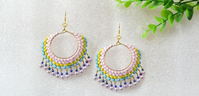 Easy Earring Design for Green Hands – Making Beaded Multi Color Hoop Earrings At Home