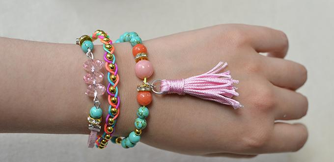 How to Make a Colorful 3 Strand Beaded String Bracelet