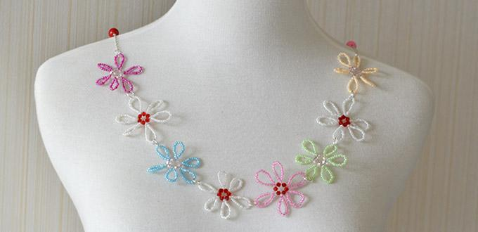 Pandahalls Free Seed Bead Flower Necklace Patterns And Instructions