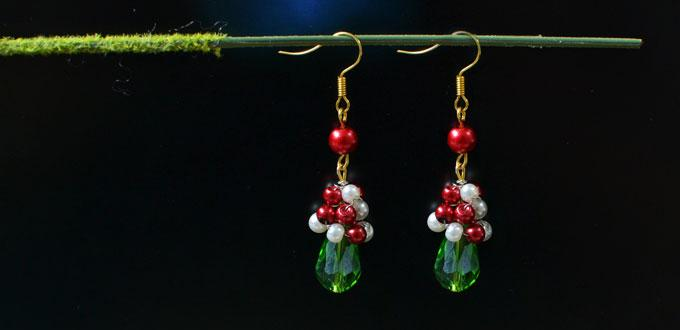 Christmas Earring Ideas - How to DIY a Pair of Red and Green Drop Earrings