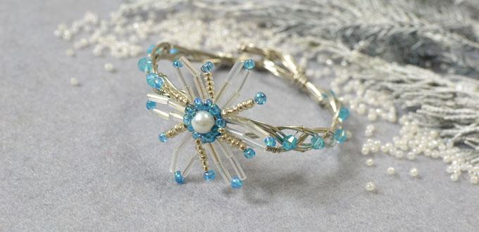 Christmas Jewelry Making Idea – How to Make a Wire Bangle Bracelet with Snowflake Pattern