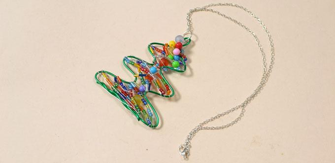 How to Make a Wire Wrapped Pendant Necklace with Colorful Beads for Christmas Day