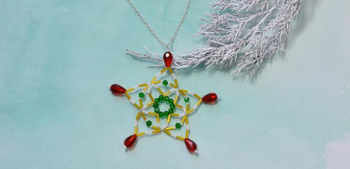 Christmas Necklaces to Make – Long Chain Pendent Necklace with Beaded Snowflake Pattern