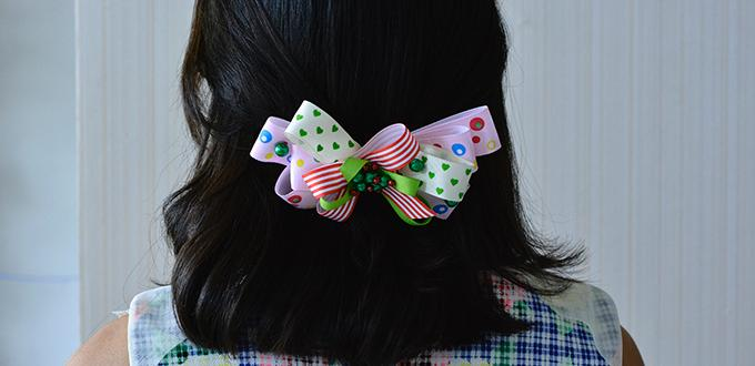 How to Make Christmas Ribbon Hair Clips with Pearl Beads