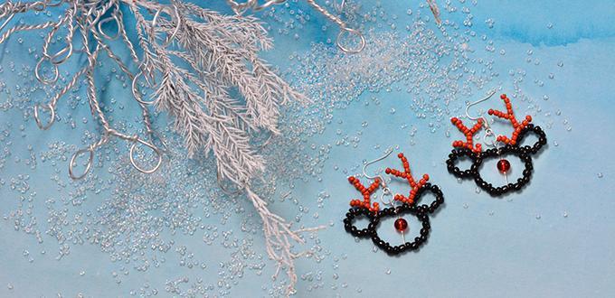 Beaded Christmas Earrings Free Pattern – Black and Red Beaded Elk Earrings DIY