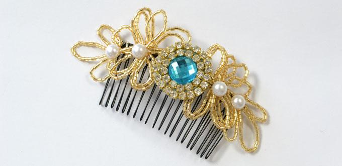 Pandahall's Free Tutorial on How to Make Beaded Flower Hair Comb