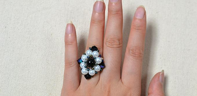 Pandahall Tutorial on How to Make a Rhombus Flower Bead Ring