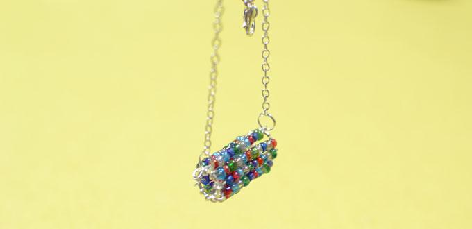 Easy Multi-colored Seed Beaded Pendant Necklace Instructions for Beginners