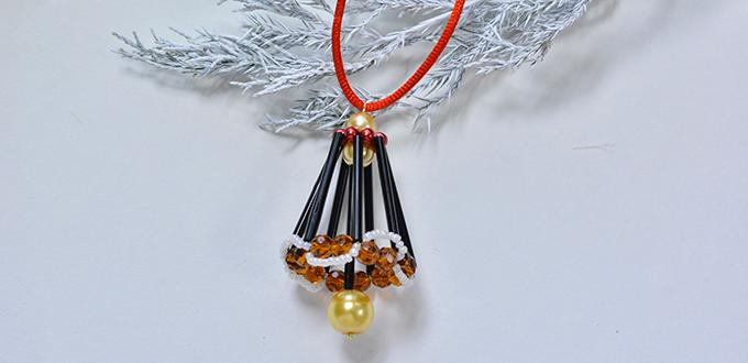 How to Make a Beaded Christmas Bell Hanging Ornament
