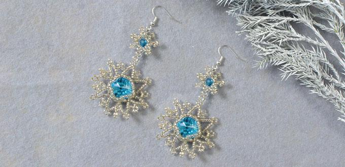 Frozen Christmas Present Idea on How to Make Beaded Snowflake Earrings with Blue Rhinestone