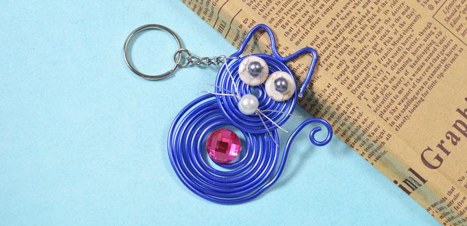 How to Make Cute Keychains with Blue Wire Wrapped Cat Pendant