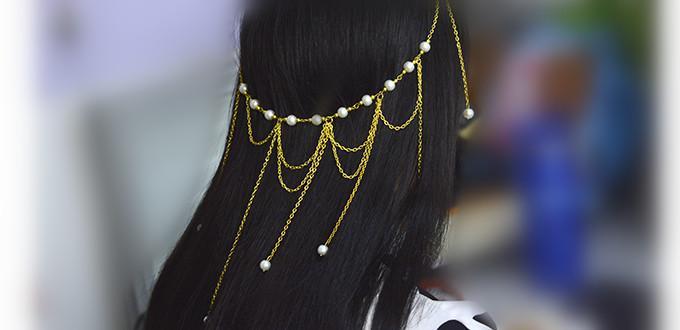 Easy Fashion Golden Chain Headpiece Design for Girls