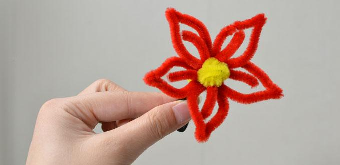 How to Make a Red Flower Hair Tie with Chenille Stems
