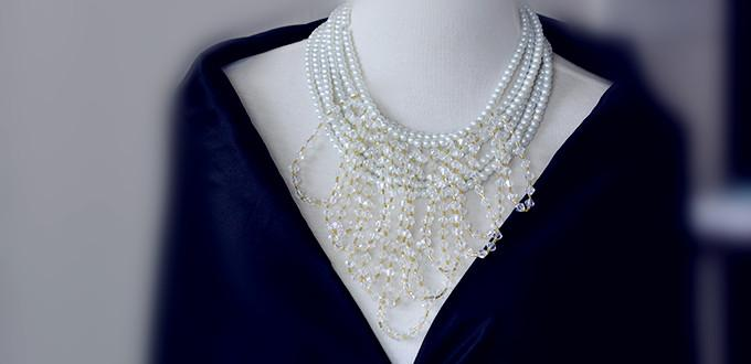 How to Make a Beaded Cluster Wedding Necklace with Pearl Beads and