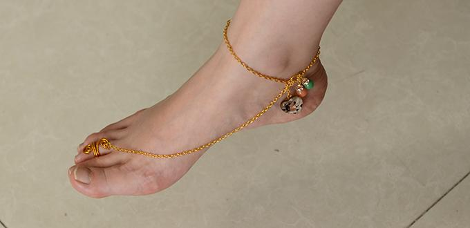 Easy DIY Project on Making a Gold Foot Chain and Anklet with Toe Ring