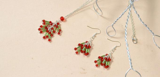 Pandahall Christmas Jewelry Set Tutorial - How to Make Beaded Necklace and Earrings