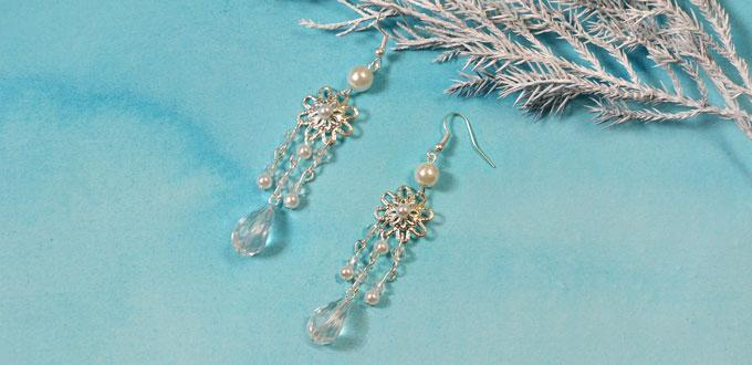 How to Make a Pair of White Snowflake Chandelier Earrings ...