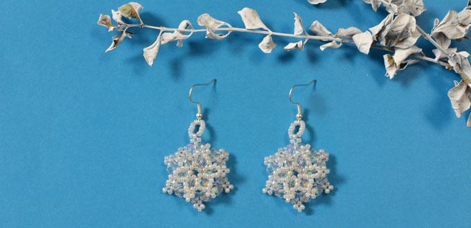 How to Make Beaded Snowflake Earrings with Glass Beads and Pearl Seed Beads