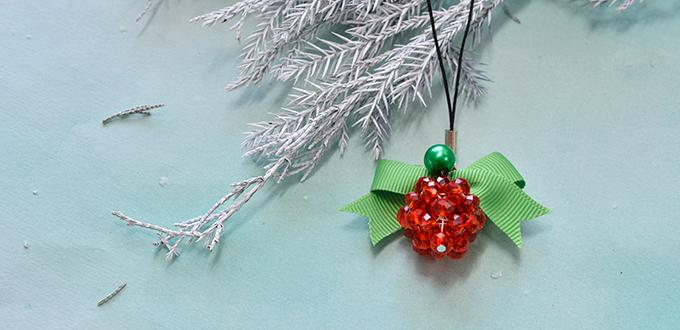 How to Make a Red Glass Beaded Christmas Ball Phone Chain with Green Bow