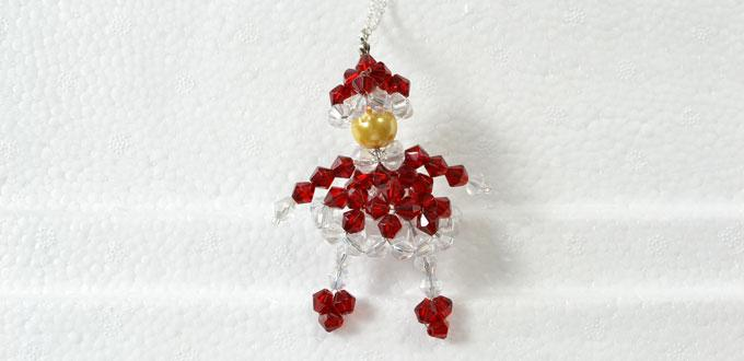 How to Make a Lovely Red Glass Beaded Doll Snowman Pendant Necklace