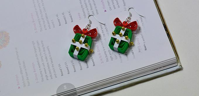 Instructions On How To Make Quilling Gift Box Earrings