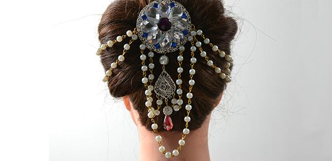 Instructions on How to Make an Elegant Rhinestone and Pearl Bridal Hair Piece