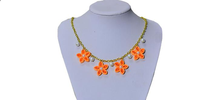 How to Make Girl's Chain Necklaces with Quilling Flowers