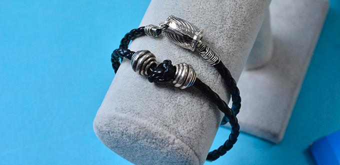 Valentine's Day Gift Ideas – Cool Black Leather Cord Bracelet for Men