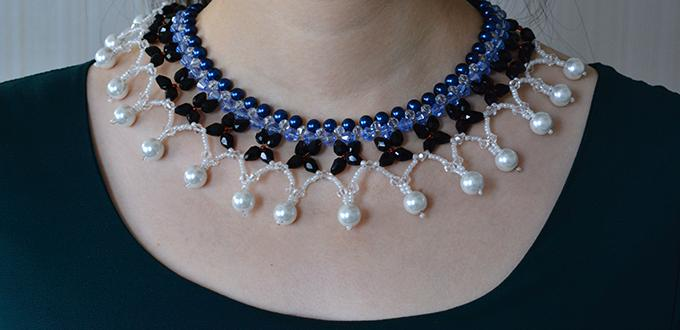 How to Make a Handmade Blue and Black Collar Necklace at Home