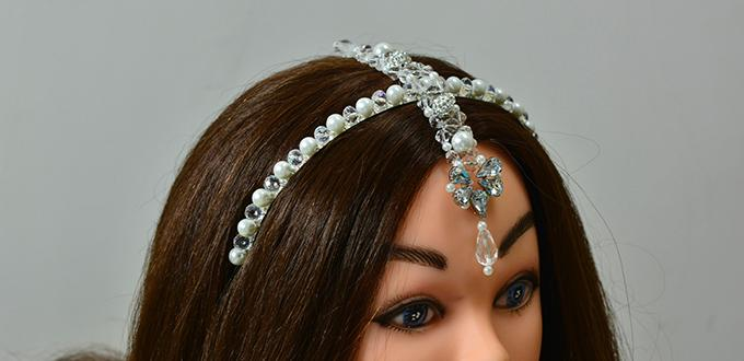 Instructions on How to Make Girl s Beaded Hair Bands with Drop Glass Bead-  Pandahall.com 5a4655b0f7e