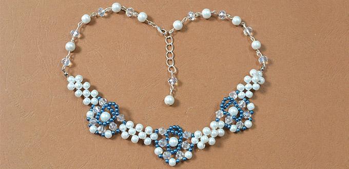 28a563f9f6dd Accesorios de Moda  Tutorial de cómo hacer un collar de perla flor azul