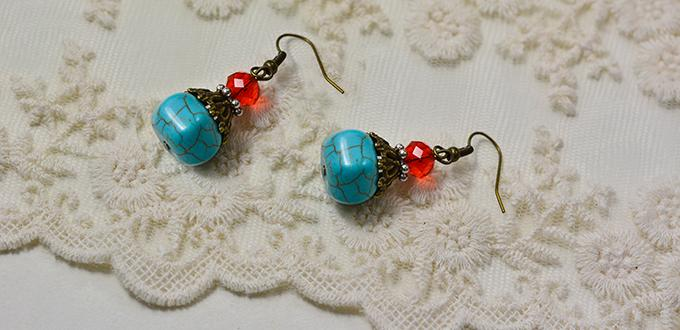 How to Make a Pair of Easy Turquoise Bead Drop Earrings for Beginners