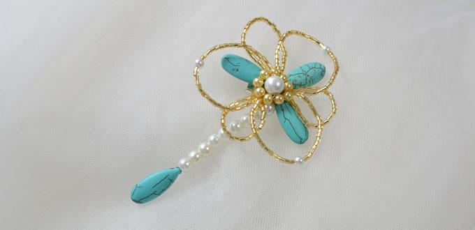How to Make Cheap Turquoise Beads Flower Brooches for Women