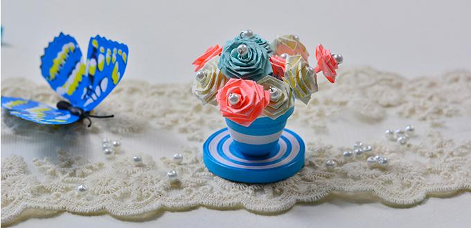 How to make a blue quilling paper flower pot and flowers for home how to make a blue quilling paper flower pot and flowers for home dcor mightylinksfo