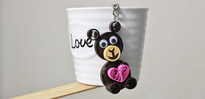 Pandahall Tutorial on How to Make Easy Keychains with Quilling Bear
