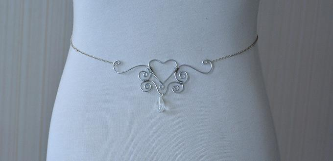 How to Make a Silver Waist Chain with Wire Wrapped Heart Ornament