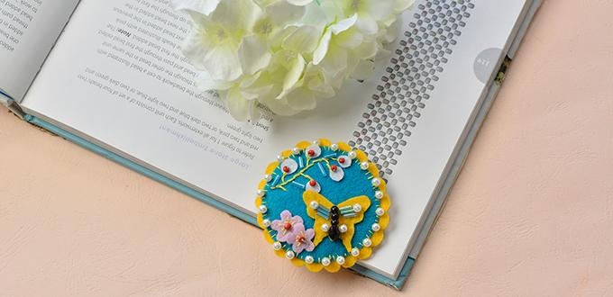 Embroidery Tutorial - How to Make a Blue Felt Butterfly and Flower Brooch