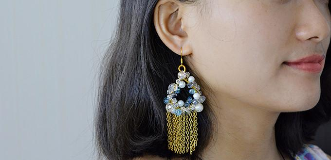 Pandahall Tutorial - How to Make a Pair of Bead Hoop and Chain Tassel Earrings