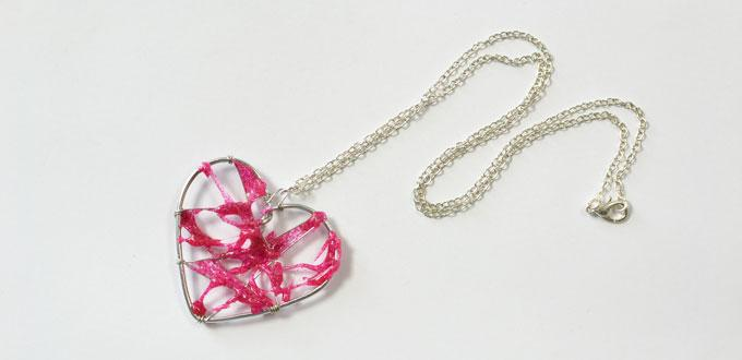Making Creative Wire Wrapped Heart Pendent Necklace with Hot Pink Glue Covered for Mother's Day