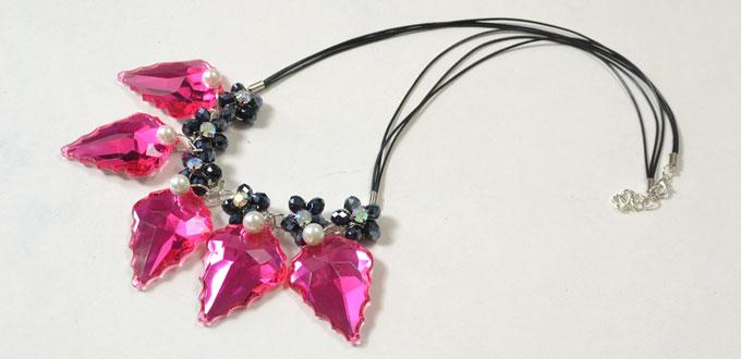 Instructions on Making a Waxed Cord Necklace with Black Beaded Flower and Hot Pink Rhinestone Drop