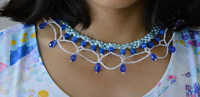 How to Make a Charming Ocean Inspired Glass and Pearl Beaded Collar Necklace