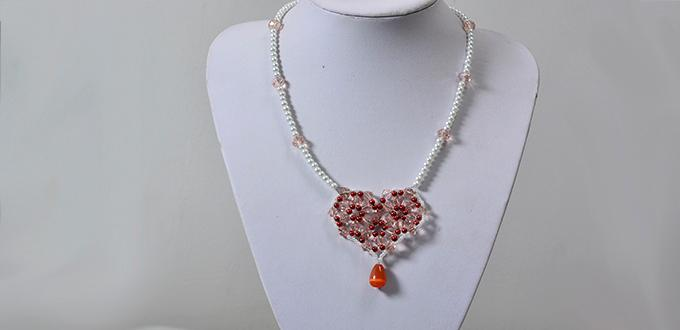 How to Make a Red Bead Heart Pendant Pearl Necklace at Home