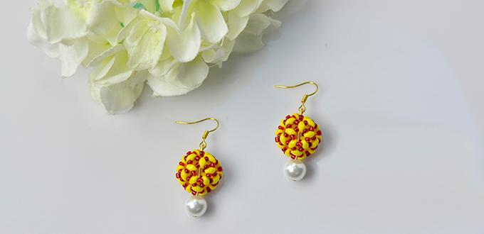 Pandahall Tutorial - How to Make a Pair of Yellow 2-Hole Seed Bead Ball Earrings