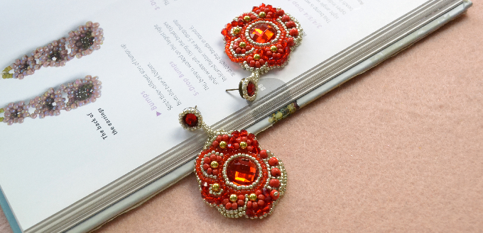 Pandahall Tutorial on How to Make Red Flower Embroidery Earrings with Seed Beads