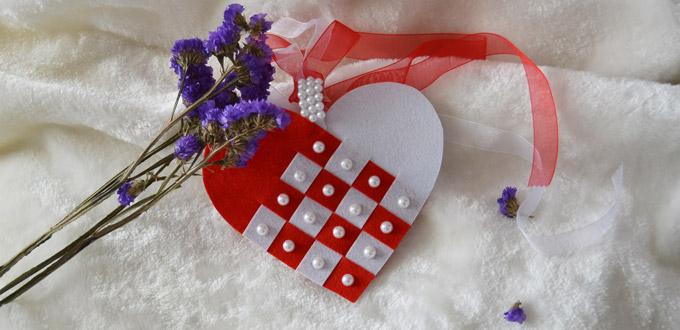 Mother's Day Craft - How to Make a Red Felt Heart Hanging Ornament with Pearl Beads