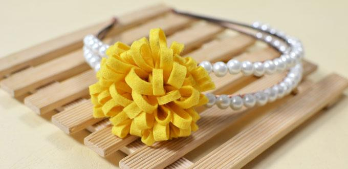 How To Make A Handmade Pearl Beaded Headband With Yellow Felt Flower