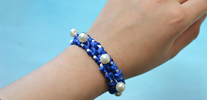 How to Make a Handmade Blue Nylon Thread Braided Friendship Bracelet
