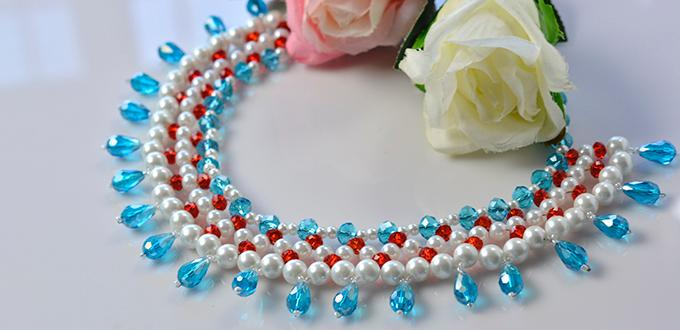 Detailed Tutorial on Making Ocean Inspired Statement Necklace with Blue Glass Drops