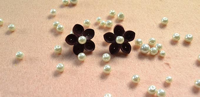 Pandahall Tutorial - How to Make a Pair of Beautiful Quilling Paper Wintersweet Ear Studs